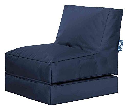 lifestyle4living Sitzsack für draußen in Blau aus wasserabweisendem Microfaserstoff | Bequemer Sitzsackstuhl und Liegesack, 300 l