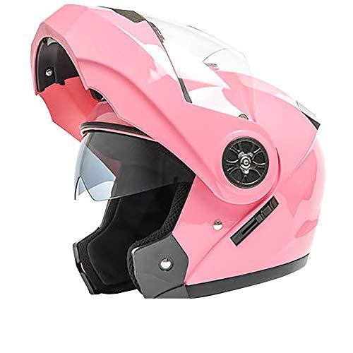 YXDDG Casque de Moto Moto Dual Sport helmetwith Double visières pour Adulte Flip Front Moto Casque-Rose M