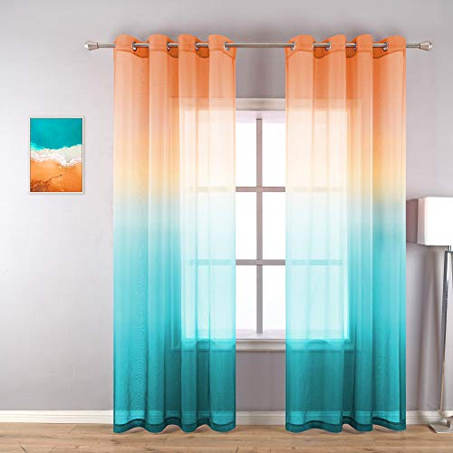 Ombre Design Curtains 84 Inch Length for Living Room Set 2 Panels Grommet Window Unique Hawaii Scenic Sunset Bright Sheer Drapes Print Calming Curtains for Bedroom Spring Burnt Orange Yellow Green