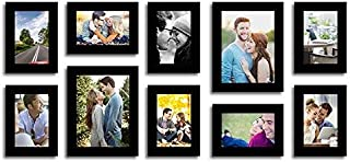Art street Stature Set of 10 Individual Black Fiber Wood Wall Photo Frames