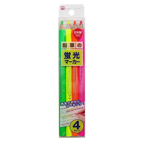 クツワ HiLINE 鉛筆の蛍光マーカー  PA001 4色セット
