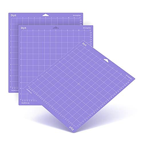 DIYIT 12x12 Cutting Mat for Cricut Maker 3/Maker/Explore 3/Air 2/Air/One, 3 Pieces Stronggrip Cutting Mats for Crafts