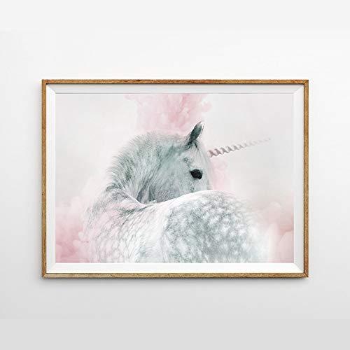 hllhpc (No Frame) Decoración de Dormitorio de niñas Unicornio Impresión de Arte de Pared y póster Rosa y Gris Pastel Lienzo Bonito Cuadro de pared50*70CM