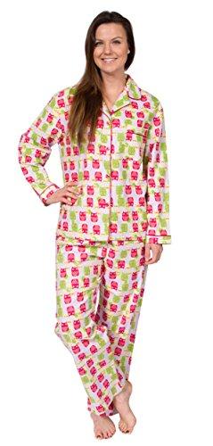 Leisureland Women's Cotton Flannel Sleep Pajama Sets Hope Faith Love Owl Large