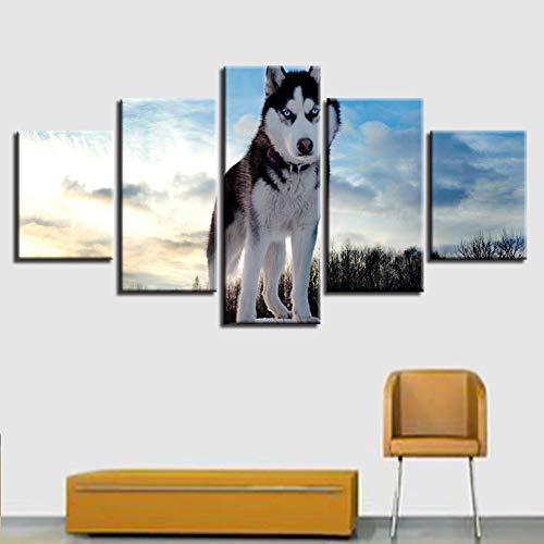 GYSS 5 Panel Hd Gedruckt WandkunstPoster Leinwand Moderne Husky Landschaft Wohnzimmer Bilder Dekoration