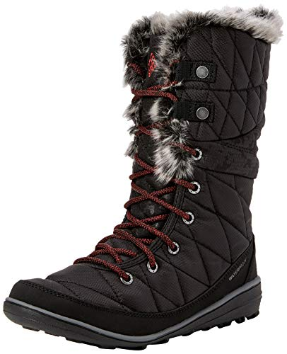 Columbia Heavenly Camo Omni-Heat, Chaussures de Randonnée Hautes Femme, Noir (Black, Marsala Red), 36 EU