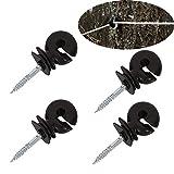 YouU 4 piezas Anillo aislante negro para alambre de acero de alta resistencia Set Aisladores de Anillo de Rosca Accesorios de Cerca Eléctrica para Poste de Madera