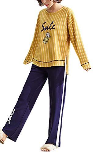 Mujer Nightwear Manga Larga Cuello Redondo Clásico Carta Impreso Pijama -Set 2 Piezas Primavera Otoño Moda Anchas In Formales Pijamas Mujer Pantalones De Pijama Chicos (Color : Amarillo, Size : M)