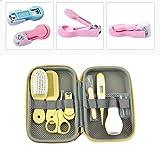 Juego de cepillos para peine de cortaúñas portátil para bebés Kit de cuidado de la salud infantil Cuidado de aseo infantil Cortaúñas Kit de cepillos para el cabello peine-Amarillo