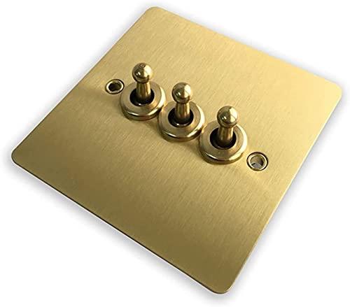 Interruptor de luz de 1 banda, 2 pandillas, 3 bandas y panel de cobre de 10 A, interruptor de pared de 2 vías, diseño elegante (color: 3 bandas de 2 vías) (tamaño: 3 pandillas)