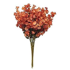 SKEMIX 12 Collection Gypsophila Wedding Centerpieces Silk Flowers Color: Burnt Orange