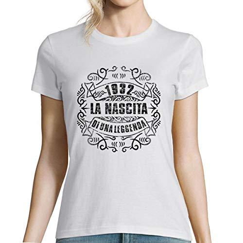 Planetee 1932 La Nascita du Una Leggenda |T-Shirt Bianca Donna Collection Compleanno |Maglietta Umoristica XXL