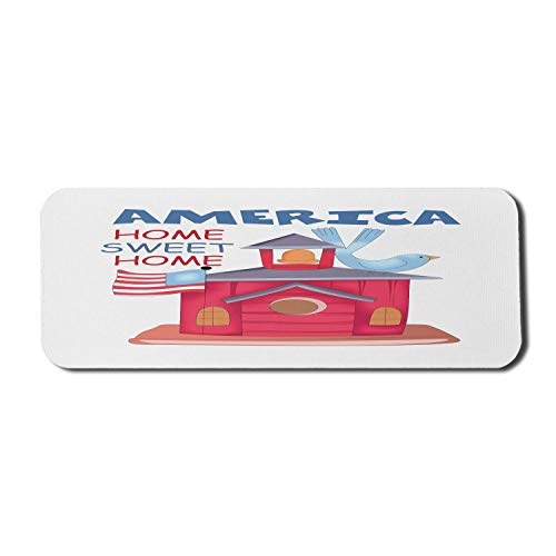 Americana Computer Mouse Pad, Vogelhaus im Cartoon-Stil mit Flagge der Vereinigten Staaten Home Home America Patriotic, Rechteck rutschfestes Gummi-Mousepad Large Multicolor
