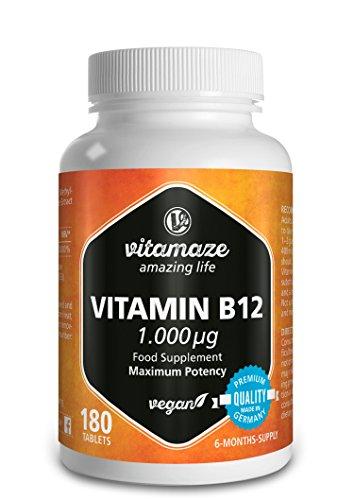 Vitamine B12 hoge dosis Methylcobalamin 1000 UG, 180 Veganistisch vriendlijk tabletten, 6-maand voorraad, kwaliteit product, geproduceerd in Duitsland, geen magnesium stearaat