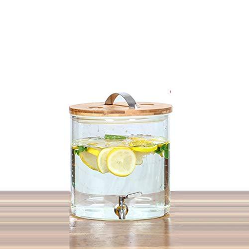 Bucket Yxx@ Dispensador de Bebidas con Grifo Recipiente de Vidrio Botella de Cristal Garrafa con dosificador(5L-12.5L)