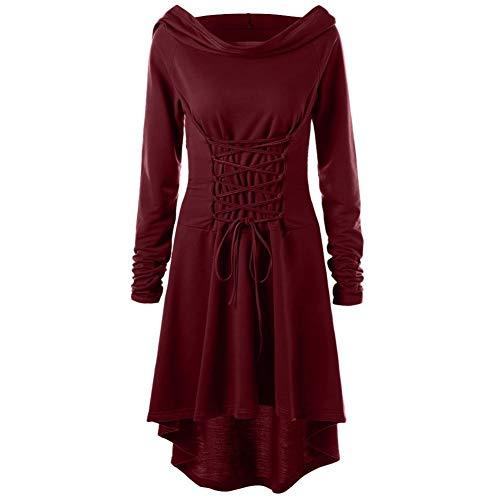 Photno – Disfraz de Mujer con Capucha, Estilo Medieval, clásico, con Cordones, Estilo Retro, para…