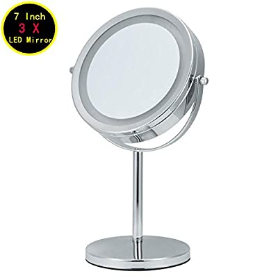 Double-Sided Lighted Makeup Mirror, Polished Chrome Finish 6-Inch Battery-Operated and 3X Magnifying Bathroom and Countertop Vanity Mirrors