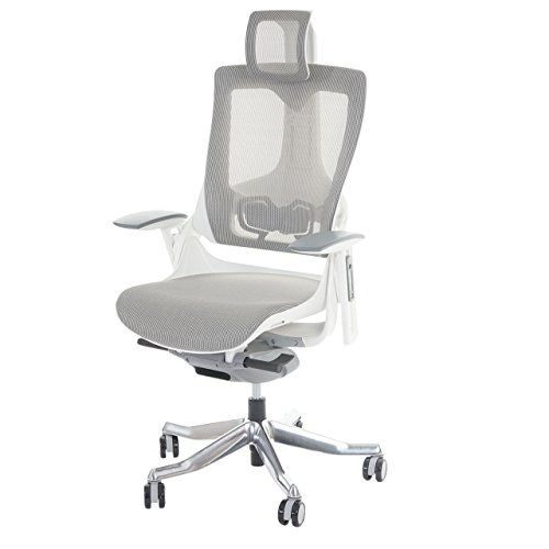 Mendler Bürostuhl MERRYFAIR Wau 2, Schreibtischstuhl Drehstuhl, Polster/Netz, ergonomisch ~ weiß-grau