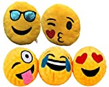 ML Pack de 5 Cojines Emoticonos Cojín Almohada Redonda Emoticon Peluche Bordado 30x30x10cm Cada uno