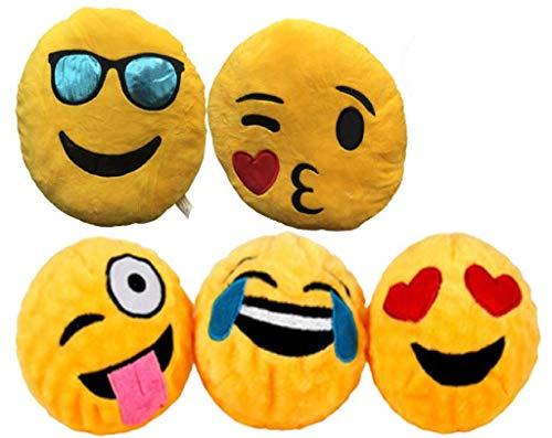 5er-Pack Emoticon-Kissen, rund, Emoticon, Plüsch, bestickt