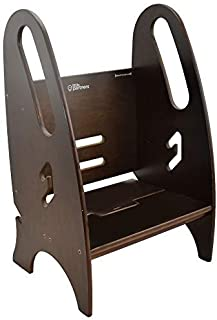 Toddler & Adult Step Up Stool | 3-in-1 Adjustable Height Stepstool for Kitchen, Bathroom, or Nursery (Espresso)