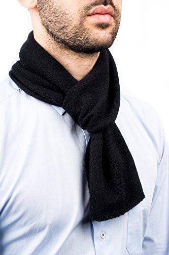 DALLE PIANE CASHMERE - Mini Sciarpa 100% cashmere - Uomo/Donna, Colore: Nero, Taglia unica