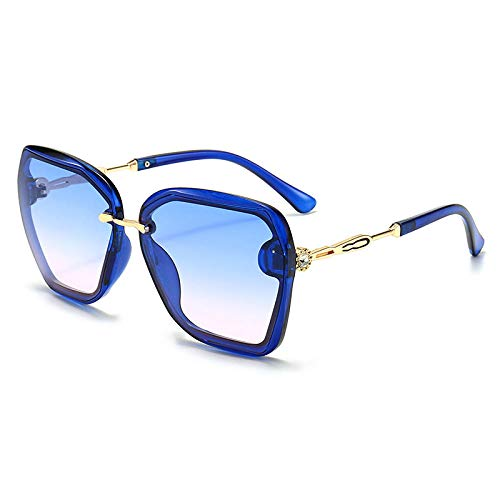 Gosunfly Lunettes de soleil, lunettes en métal, lunettes de soleil coréennes, abat-jour rétro, cadre UV Protection-Blue supérieur bleu et poudre inférieure