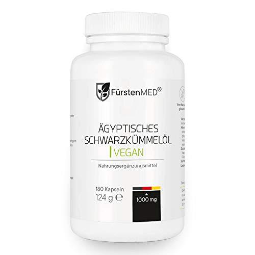 FürstenMED® 180 Schwarzkümmelöl Kapseln Vegan mit 1000mg Tagesdosis - Kaltgepresst und schonend hergestellt in Deutschland - ohne Zusatzstoffe