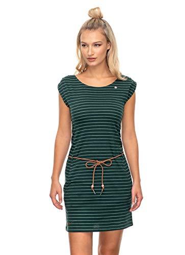 Ragwear CHEGO Damen,Kleid,Sommerkleid,ärmellos,vegan,Rundhalsausschnitt,Taillengürtel,Dark Green,M