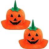2 Pieces Halloween Pumpkin Hat Jack-O-Lantern Hat Halloween Cosplay Pumpkin Cap for Halloween Party Costume Accessory Black and Orange