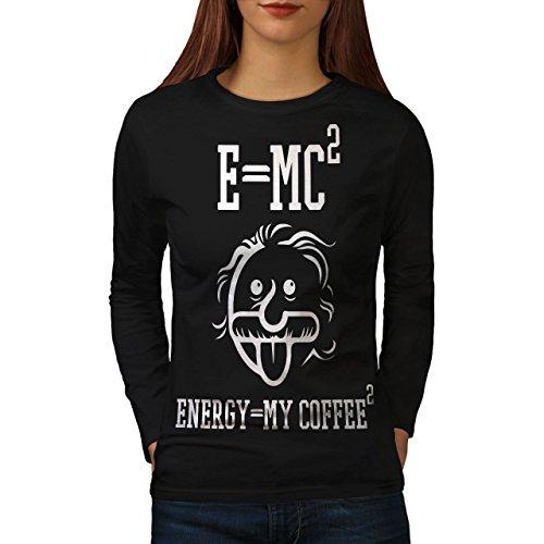 wellcoda Einstein Kaffee Frau Langarm T-Shirt Lustig Lässiges Design