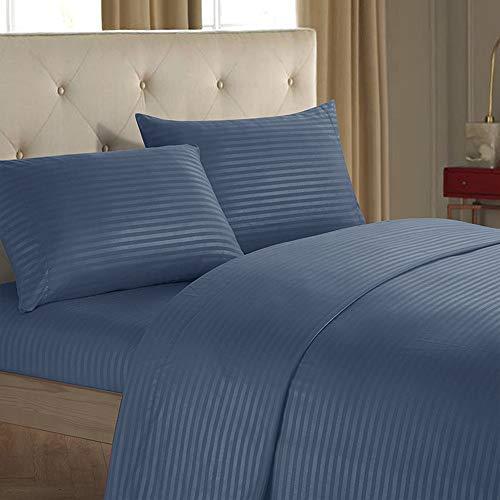 YOFASEN Conjunto de 4 Piezas Juego Sábanas de Cama - Juego de sábanas Cómodas Suaves Azul - 1x Sábana Encimera, 1x Sábana Bajera y 2X Funda de Almohada, Doble (137cm x 190cm)