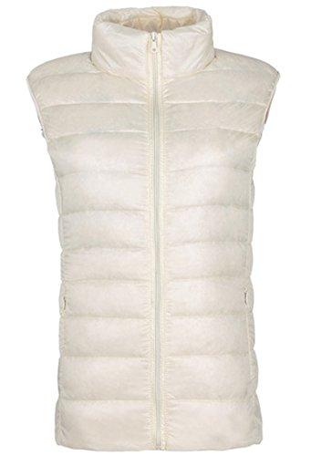 Lovache Damen Weste Down Sweater Steppweste Leicht und Wärmend Stehkragen Reißverschluss Winterjacke, Nicht-gerade weiss, Gr. XS