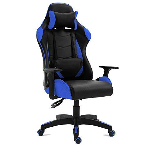 Kewayes - Silla gamer oficina gaming, sillon escritorio ergonómico despacho giratoria, reclinable ajustable con reposabrazos, 5 ruedas, Color Azul