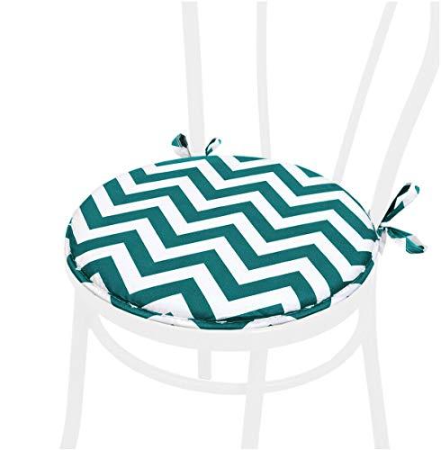 emmevi Cojín redondo suave para silla a rayas Zig Zag universal lavable Mod. DALIA11D verde