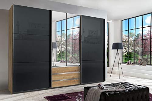 lifestyle4living Kleiderschrank in Plankeneiche-Nachbildung - Außentüren in Glas Grau, Schwebetüren-Schrank mit 3 Schubkästen, 2 Spiegeltüren, 300 cm