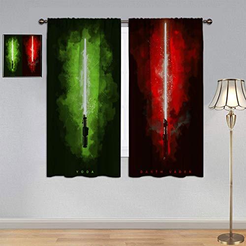 ARYAGO Cortinas personalizadas con sable de luz de Star Wars, Yoda y Darth Vader cortinas de eficiencia energética para habitación de niños de 150 x 150 cm
