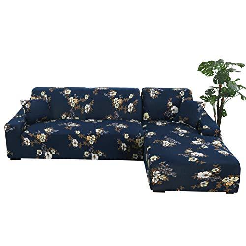 ARNTY Sofabezüge L Form, Moderne Elastischer Sofabezug Stretch 1/2/3/4 Sitzer Couchbezug Antirutsch Blumendruck Sofahusse für Couch (Dunkelblau-Blume, L Form Sofabezug :3 Sitzer + 3 Sitzer)