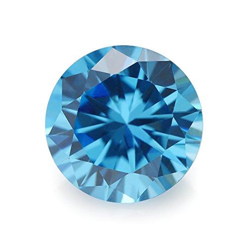 50PCS Size 3.0mm 5A Round Machine Cut Milddle Aquamarine Color Cubic Zirconia Stone SeaBlue Loose CZ Stones (3.0mm 50pcs)