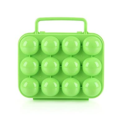 Lixada Outdoor Camping Hiking Picnic Plastic Folding 12 Eggs Carrier Holder Container Keeper Storage Box Case with Handle