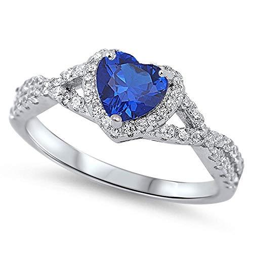 Sterling zilver Blauw Saffier Zirkonia Hart Verlovings Ring