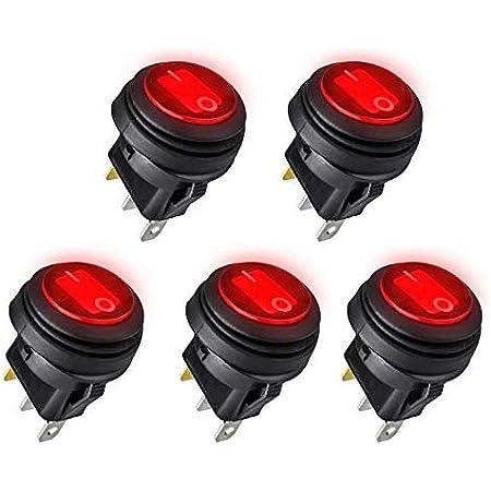 EVGATSAUTO Waterproof Rocker Switch,2pcs Red LED Light 12V 20A 3Pin Car Auto Boat Round On-Off Rocker Toggle Switch