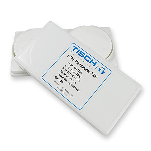 Tisch Brand SF13856 Polytetrafluoroethylene PTFE Membrane Filter, 0.22um, 47mm 1/pk/100 per pack | Wettability: Hydrophobic | Maximum Operating Temperature: 130 Degrees C | Flow Rate: 8 (ml/min@10psi)