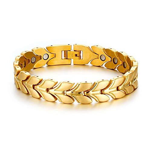 Bracelet Titanium Steel Band Magnetic Wheat Ear Bracelet Men's Bracelet Bracelet Jewelry Gift (Silver)