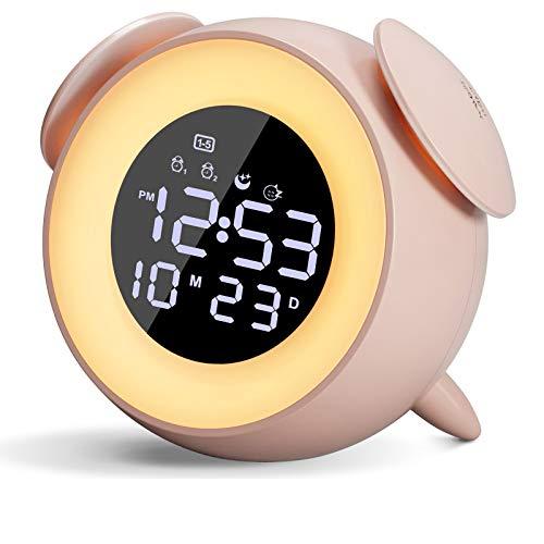Wake-Up Light Per Bambini,Sveglie da Comodino Con Simulazione Alba/Tramonto LED Orologio Luce Notturna,Funzione Snooze Touch Control,25 Suoni Naturali Sveglia Da Camera Da Letto Per Bambini Adulti