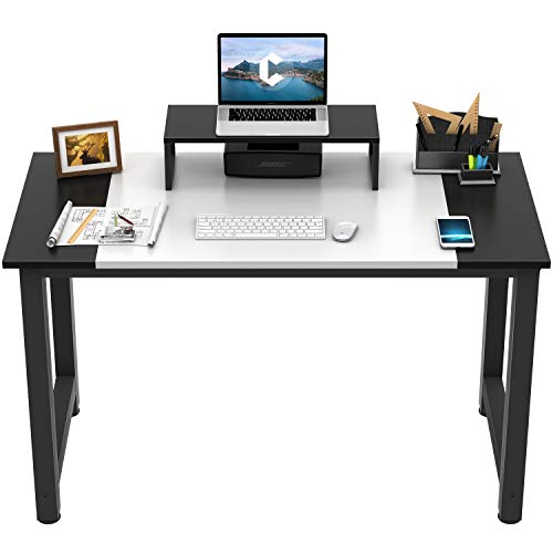 CubiCubi Computer Office Small Desk 47quot Study Writing Table Modern Simple Style PC Desk with Splice Board White and Black