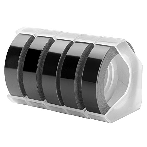 MarkField 3D Kompatibel Prägeband Ersatz für Langlebige Kunststoff Prägebändern, Vinyl-Prägeetiketten für Dymo Omega Selbstklebend Prägegerät Motex E-303 E-101, Weiß auf Schwarz, 9mm x 3m, 5 Rollen