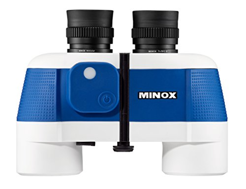 MINOX BN C II 7x50 Wassersport-Fernglas – Fernglas mit Kompass für die Nord- & Südhablkugel und großen Okularen - auch für Brillenträger – Inkl. Tasche, Schwimmtrageriemen & Batterien