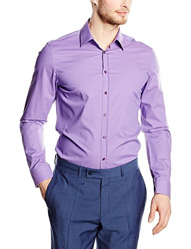 Seidensticker Herren Langarm Hemd UNO Super Slim Stretch lila / pflaume 573669.86 (Kragenweite: 36 cm, Lila)