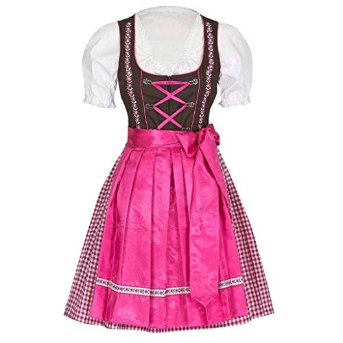 MCYs Punk Damen Kostüme Große Größen Trachtenkleid Kleid Bier Mädchen Maid Dress Frauen Elegant Dirndl Kleid Bluse Costumes Stickerei Traditionelle Oktoberfest Karneval 2020